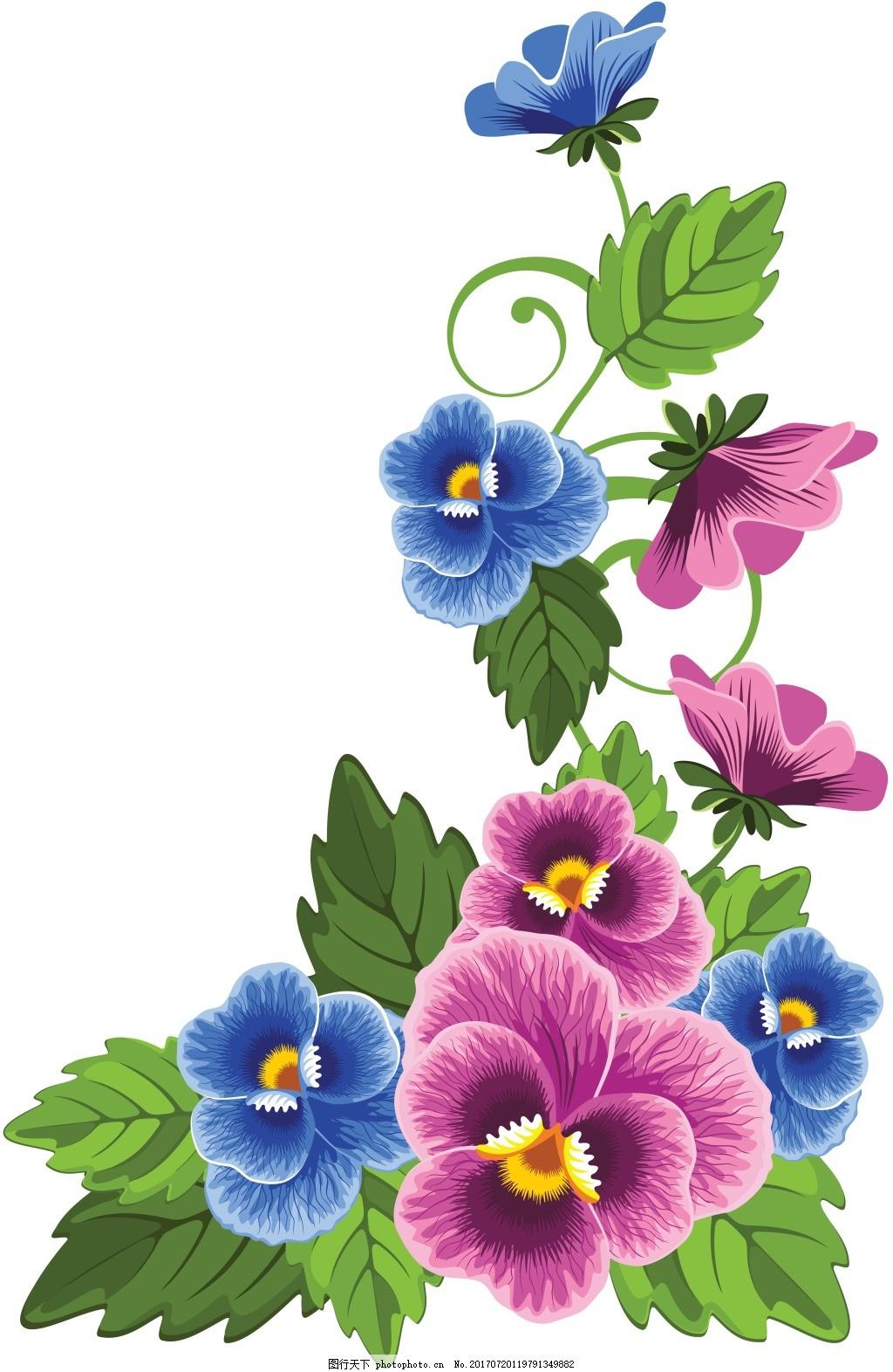 手绘绿叶蝴蝶兰元素 清新 花枝 蓝色紫色 免抠