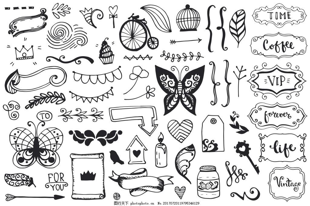 涂鸦植物花朵边框线条矢量复古 蝴蝶 爱心 羽毛 画框 房屋 对话框