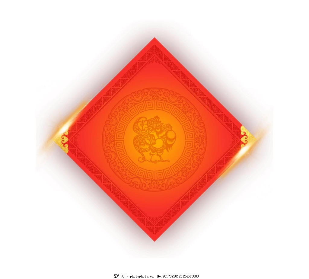 手绘红色春联元素 喜庆 节日 花纹边框 免抠