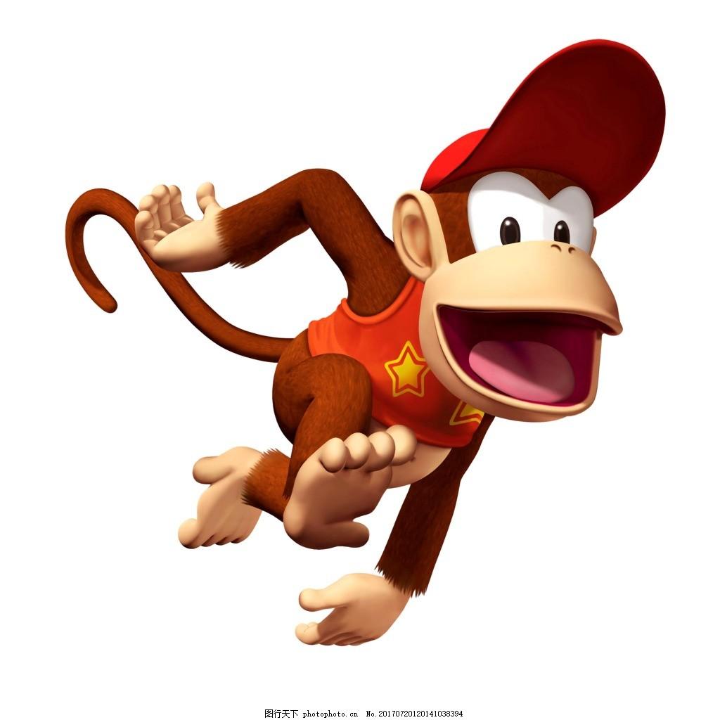 卡通小猴子猴年元素 手绘 3d 立体 卡通 小猴子 奔跑 猴年 png 免抠