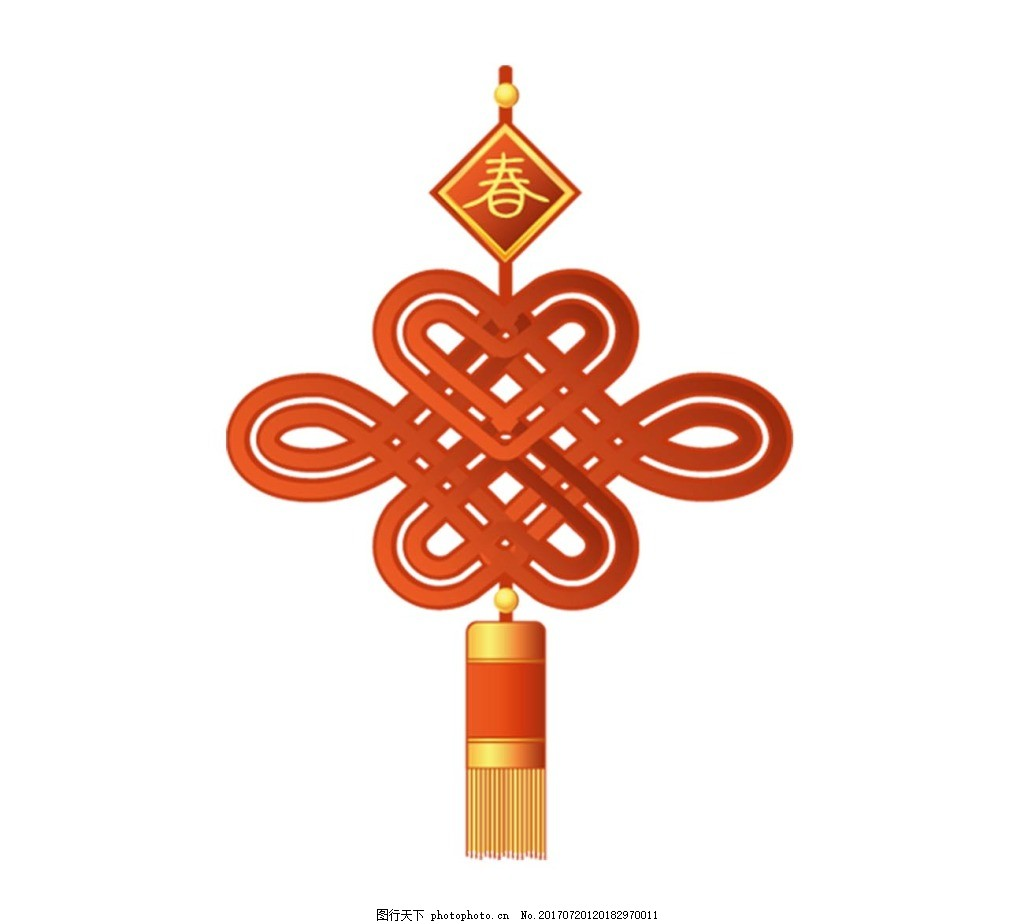 手绘红色中国结元素 喜庆 春节 吊坠 免抠
