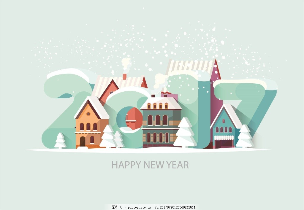 卡通立体房屋2017卡通艺术字 蓝色 雪天 冬日 彩色 几何 三角形 立体