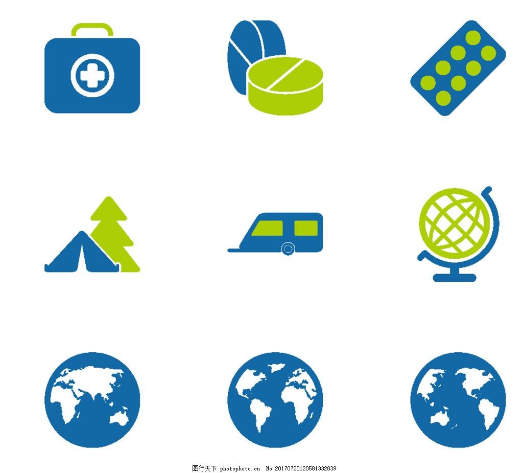 设计图库 设计元素 图标元素  地球蓝色小图标 水面 陆地 分布 地球仪
