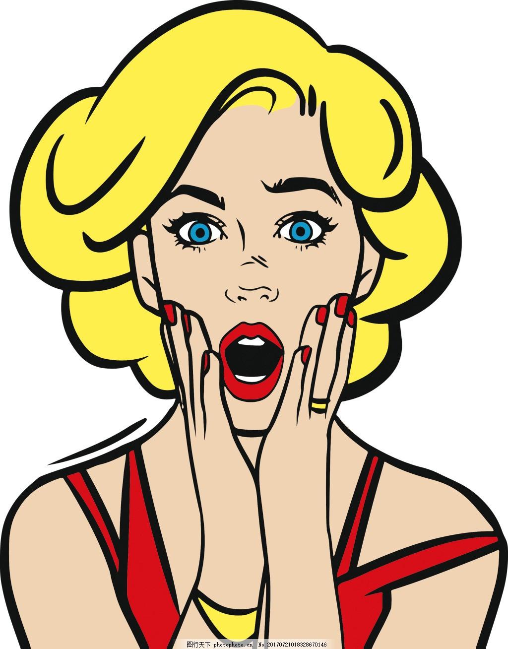 女人矢量 夸张女人 美风插画 手绘 美女