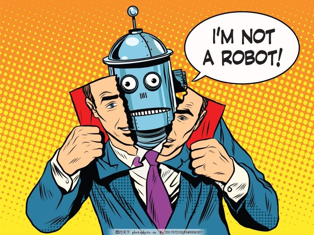 黄色背景 书本 机器人 欧美漫画 卡通 人物 风景 插画 手绘 扁平化