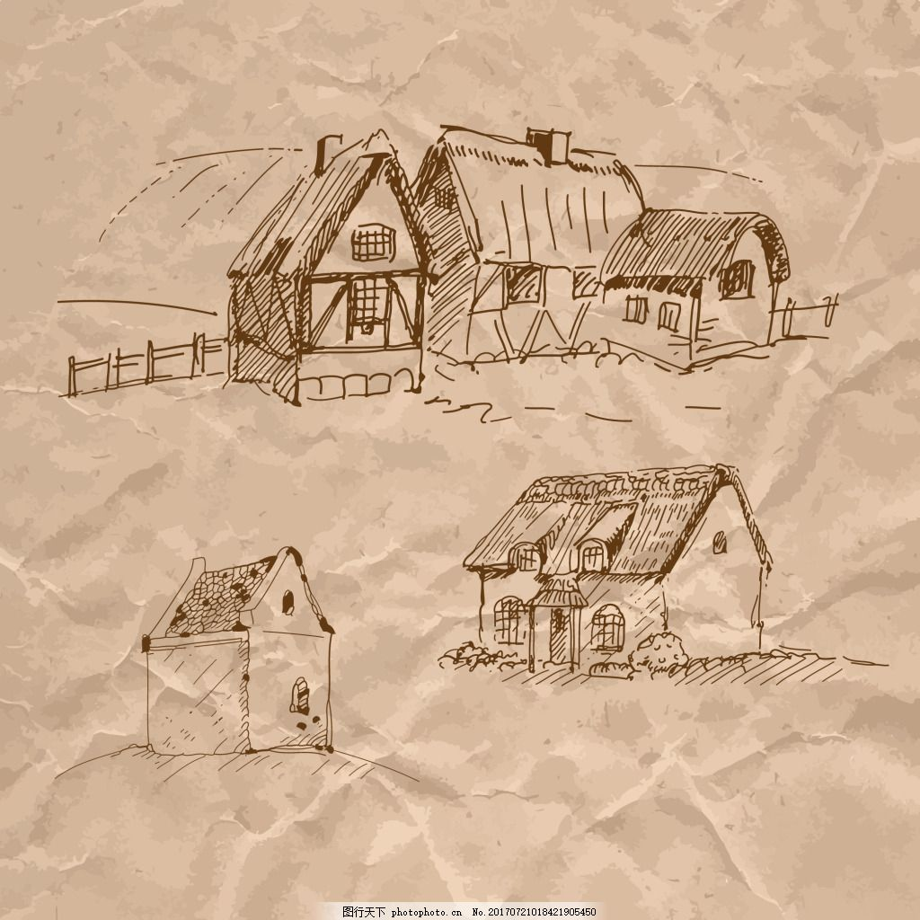 手绘小木屋建筑插画