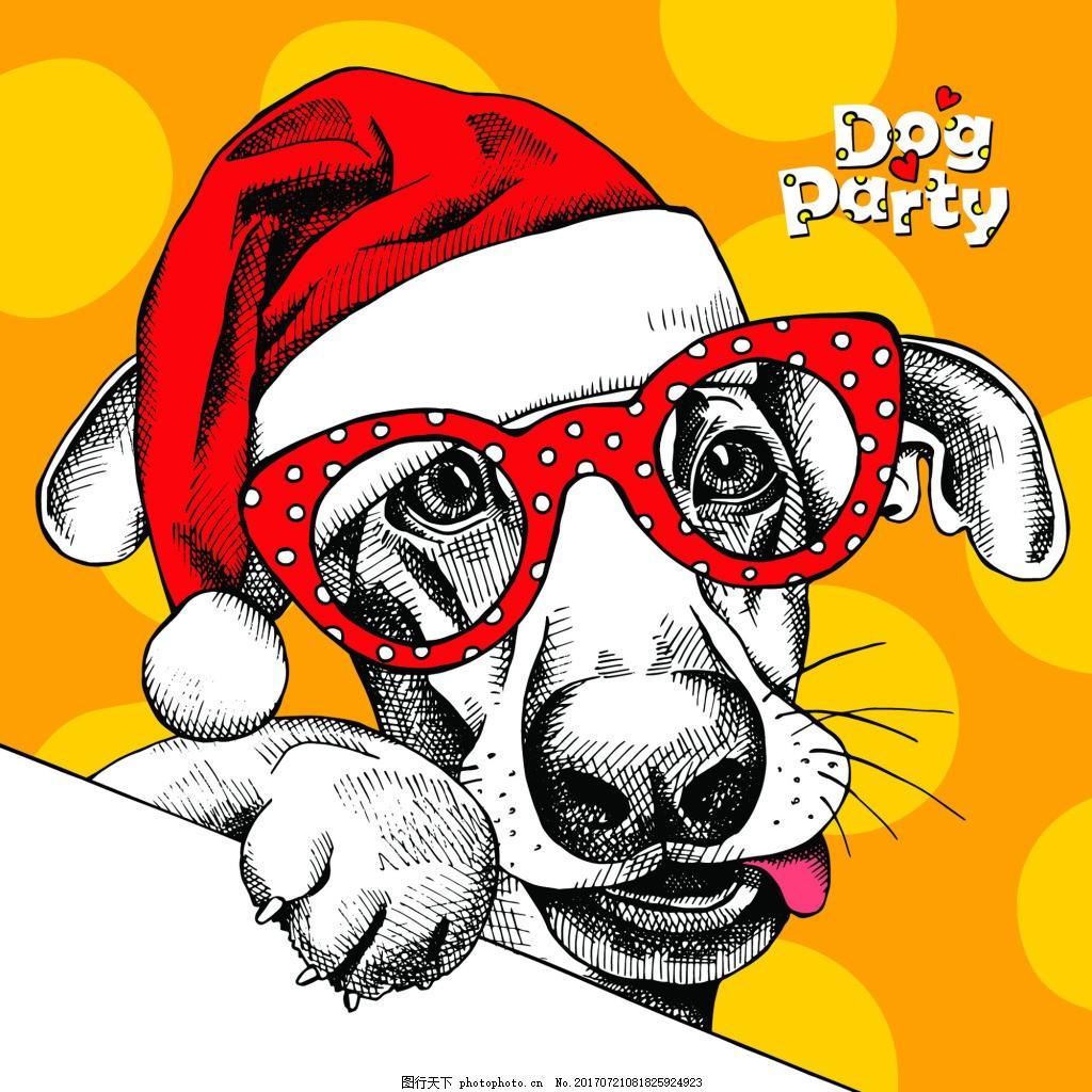 狗狗可爱动物圣诞节海报矢量