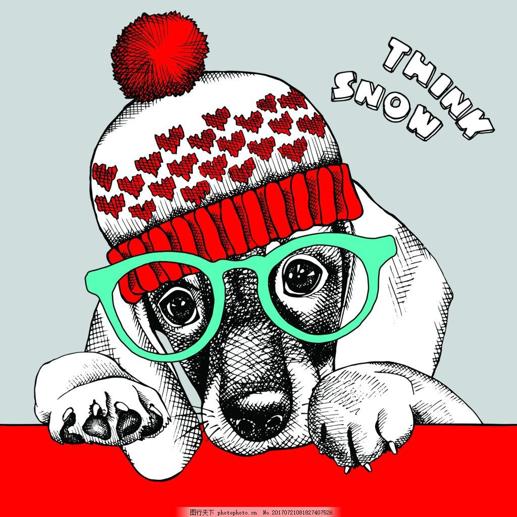 可爱狗狗帽子动物圣诞节海报矢量
