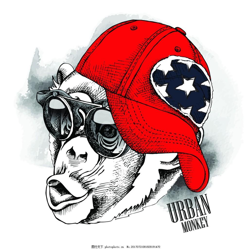 插画头像猴子可爱动物圣诞节海报矢量 帽子 潮流 墨镜 手绘 卡通 动物