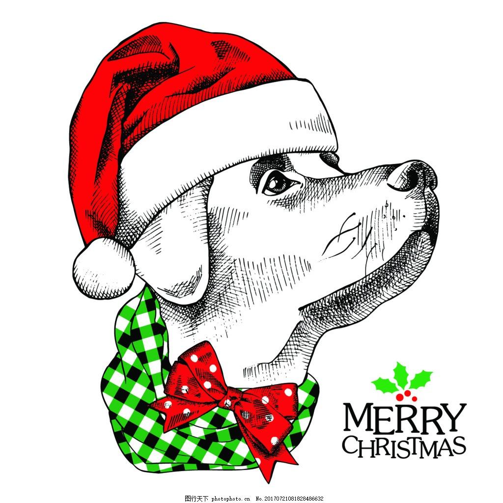 抬着头的狗狗可爱动物圣诞节海报矢量