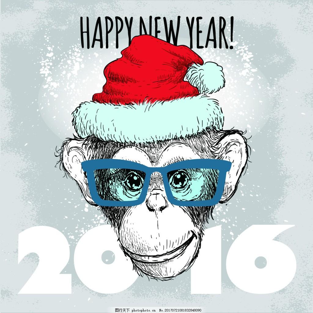 水彩猴子可爱动物圣诞节海报矢量