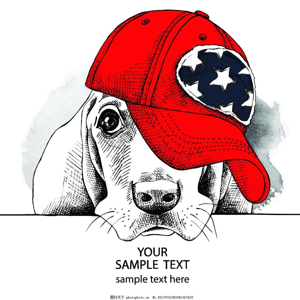 红色 帽子 卡通 动物 圣诞节卡片 插画 矢量 铅笔画 黑白 眼镜 圆圈