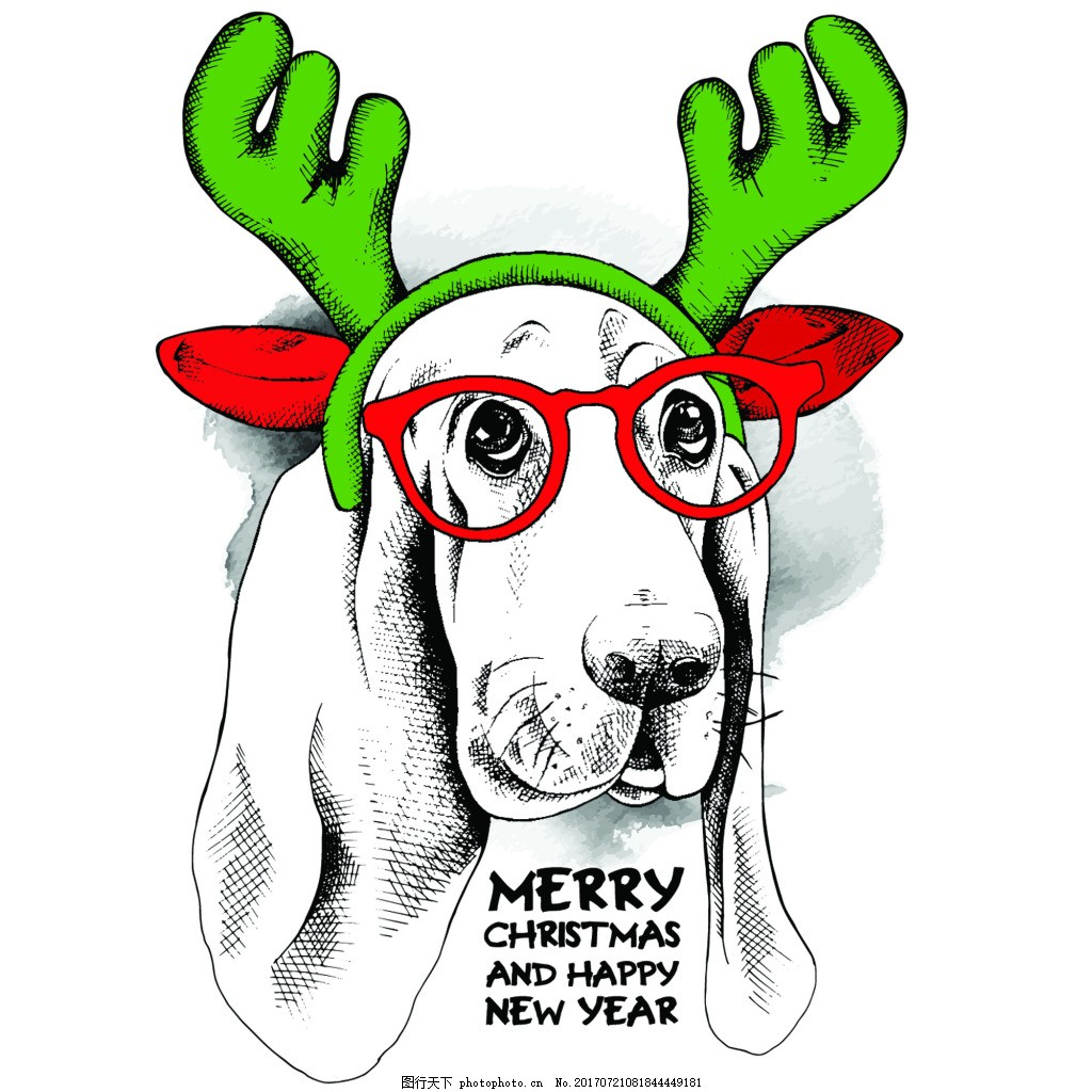 手绘可爱狗狗动物圣诞节海报矢量