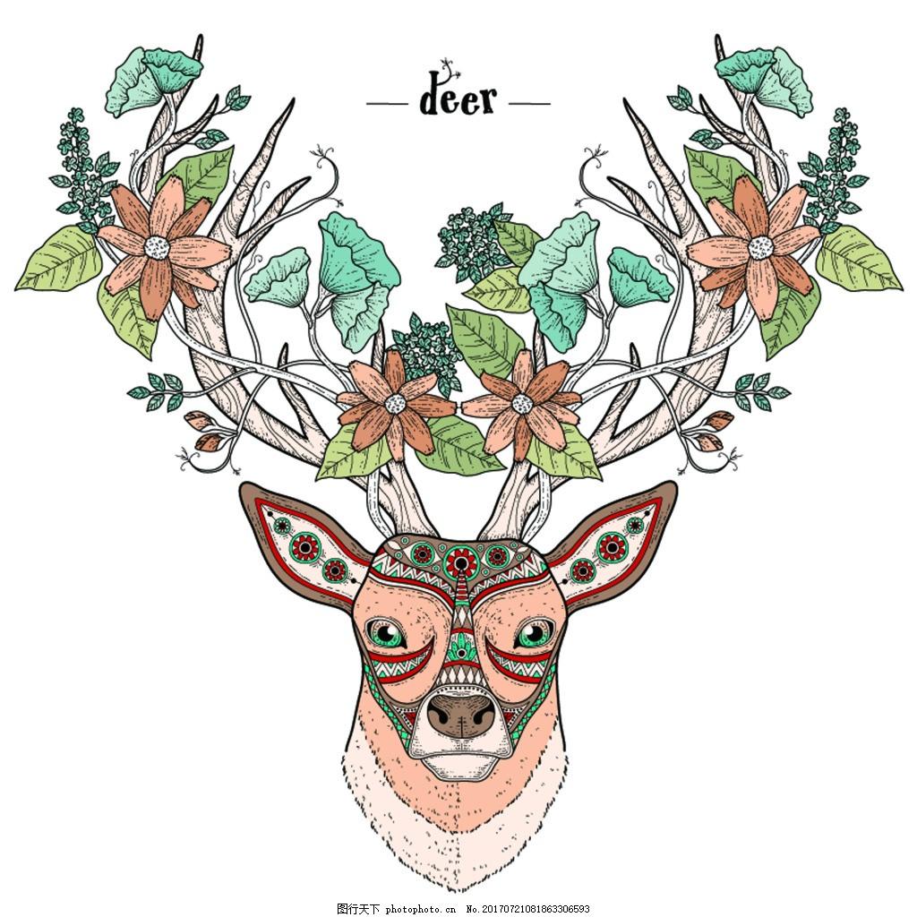 鹿插画创意动物头像矢量素材 艺术 彩色 卡通 复古 花纹 蝴蝶