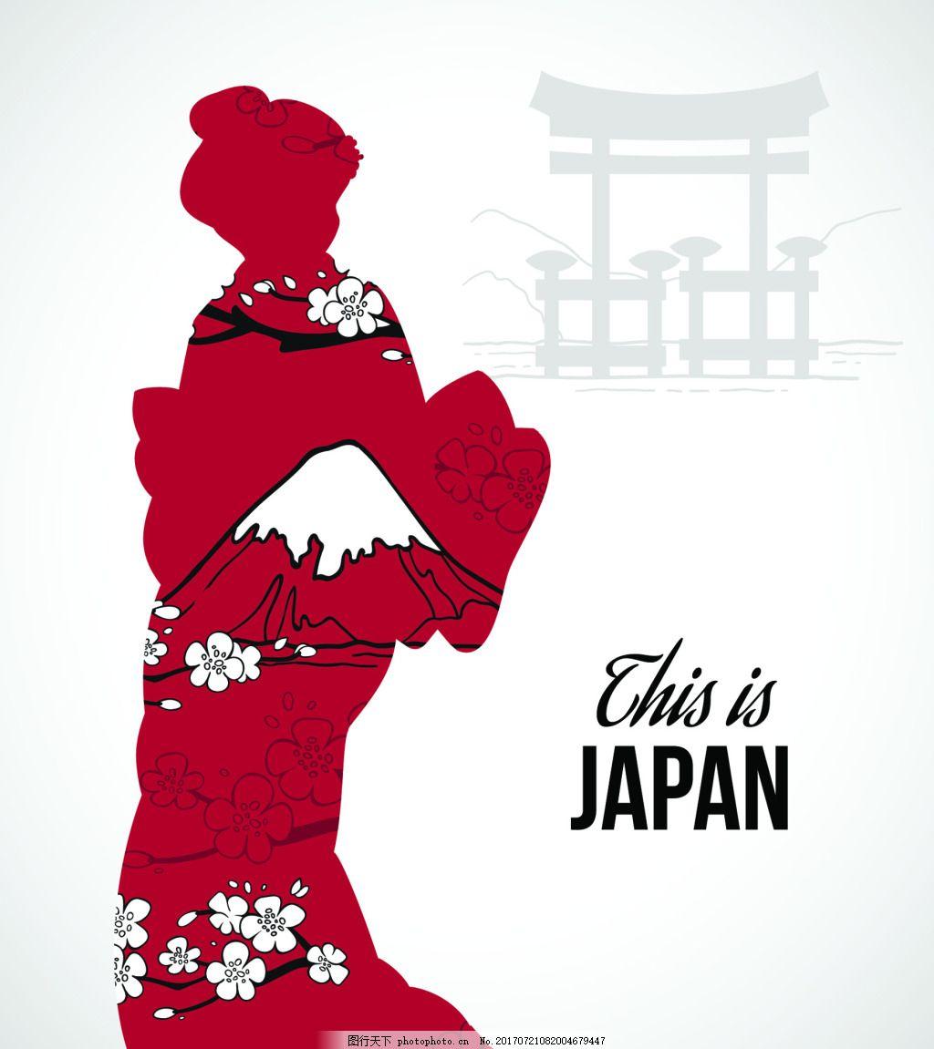 日本女人剪影日式和风矢量背景 红色 神庙 富士山 风景 抽象 插画