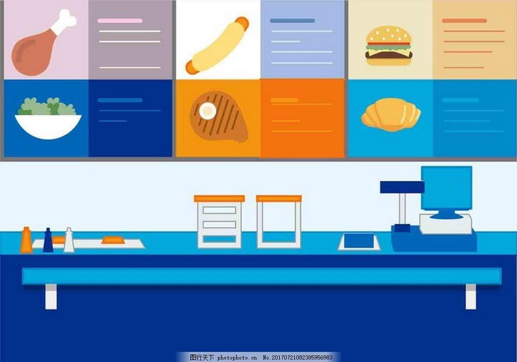 美食烹饪素材 肉 香肠汉堡 青菜 面包 饺子 餐桌 厨房 矢量素材