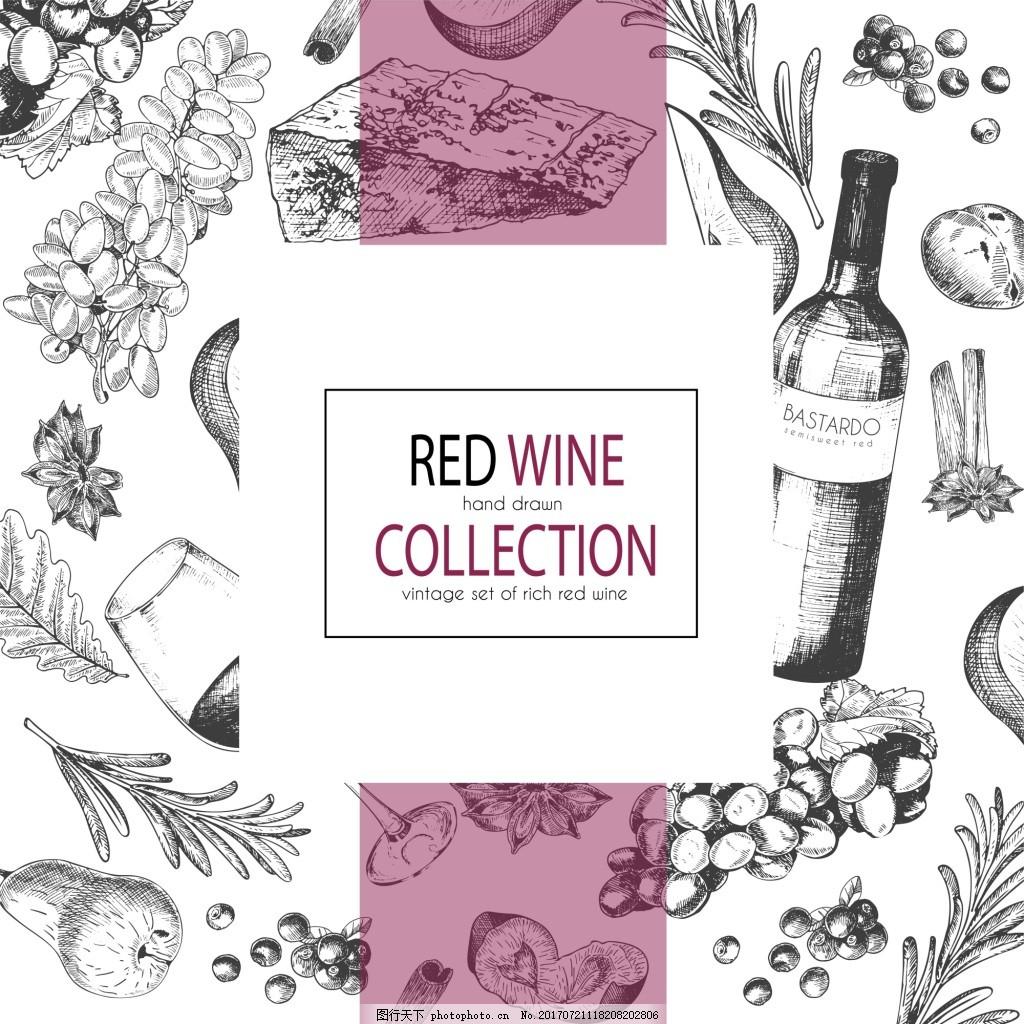红酒主题背景线稿广告矢量背景