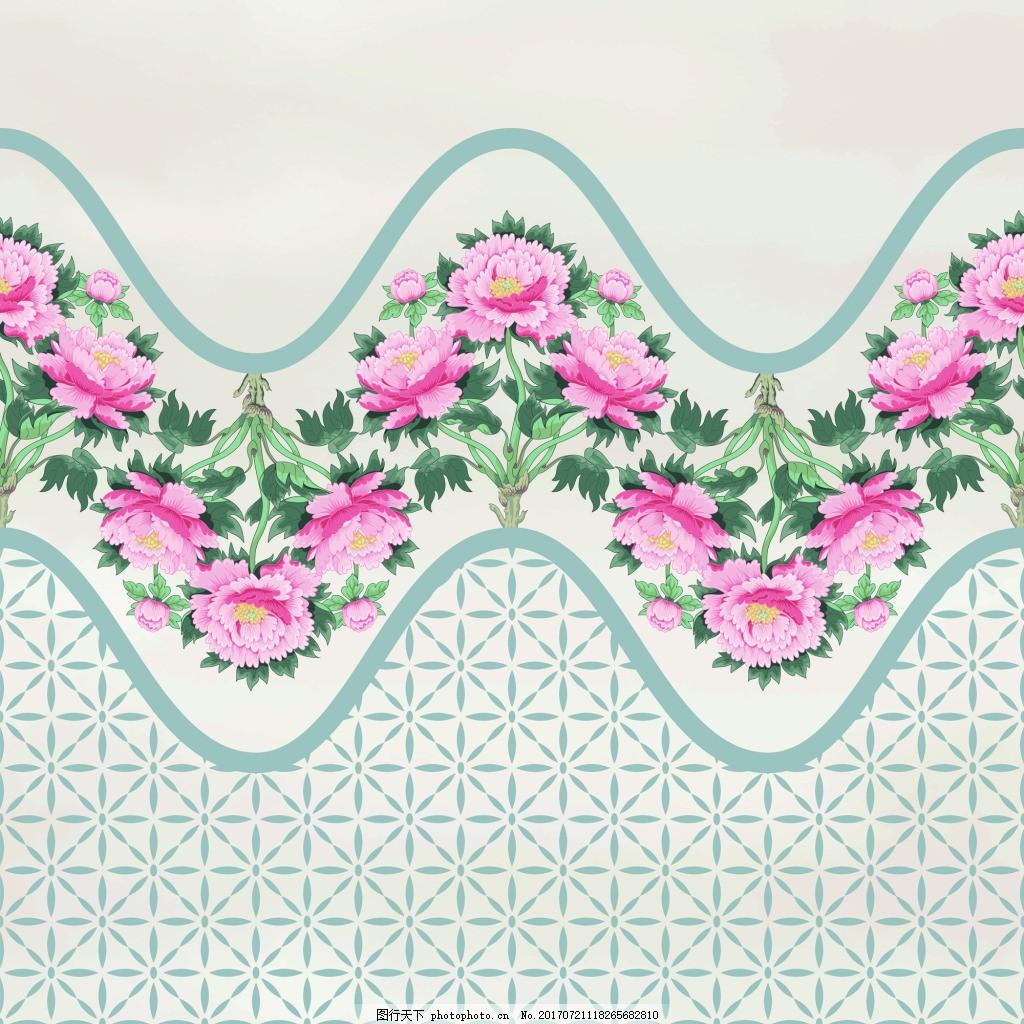 波浪中国风牡丹花图形花纹VI设计矢量 手绘 水彩 插画 邀请卡