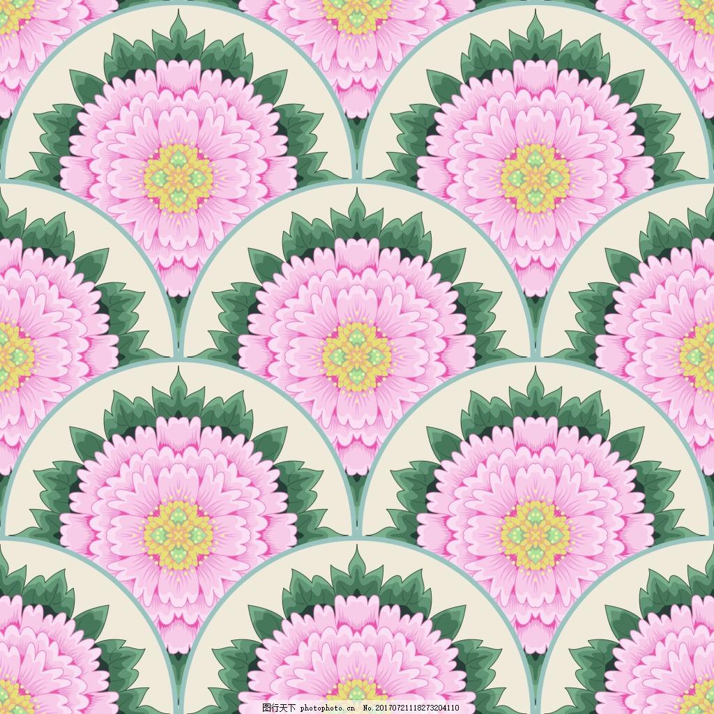 圆形花朵背景牡丹花图形花纹VI设计矢量 填充背景 邀请卡 宣传页
