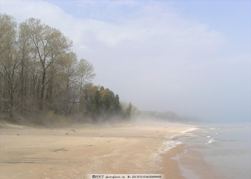 海边雾 海边 雾 树林 暴风雨 大风 大海 自然风景 摄影 自然景观 自然