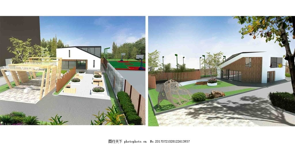 校园景观 建筑 篮球场 草图大师 效果图 素材图