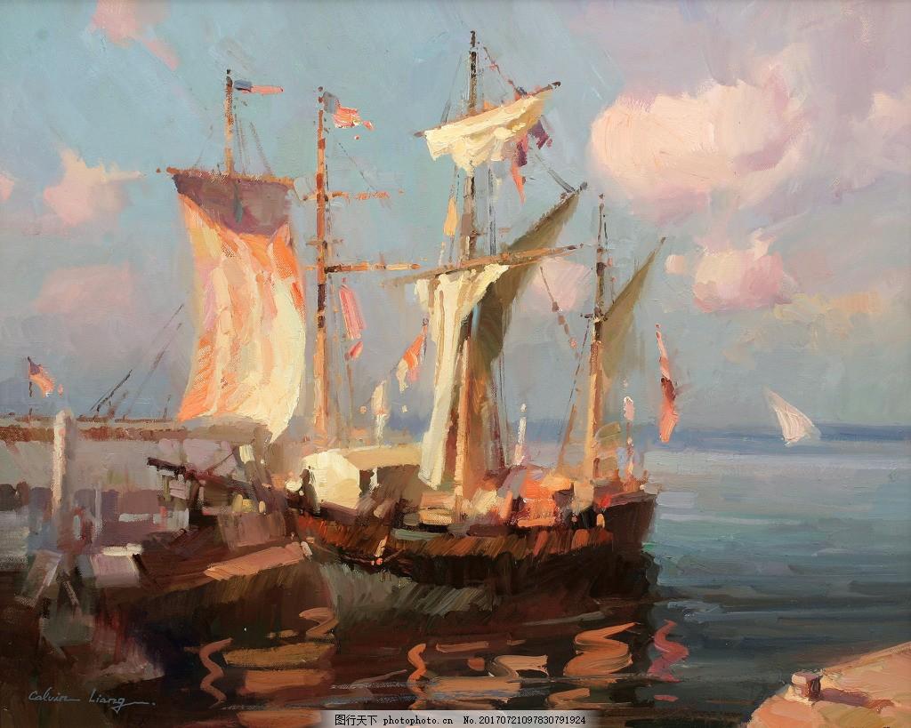 高清风景油画装饰画 帆船 红日 落日 夕阳
