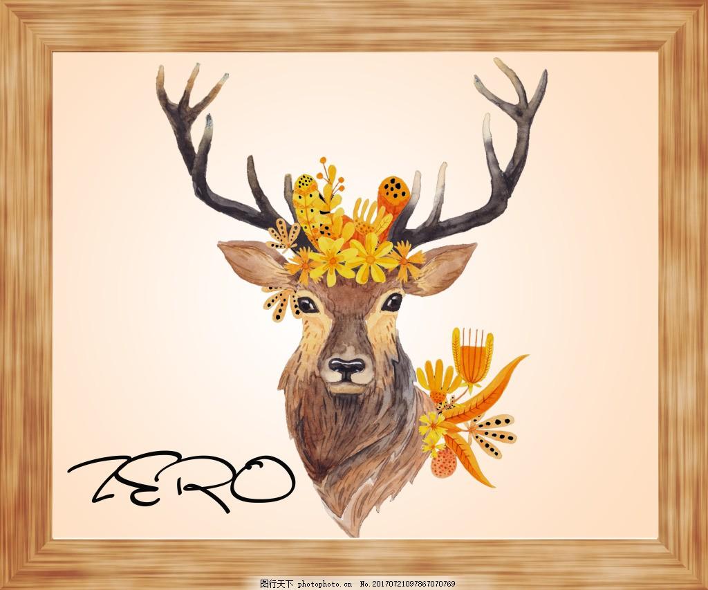 小清新鹿头装饰画