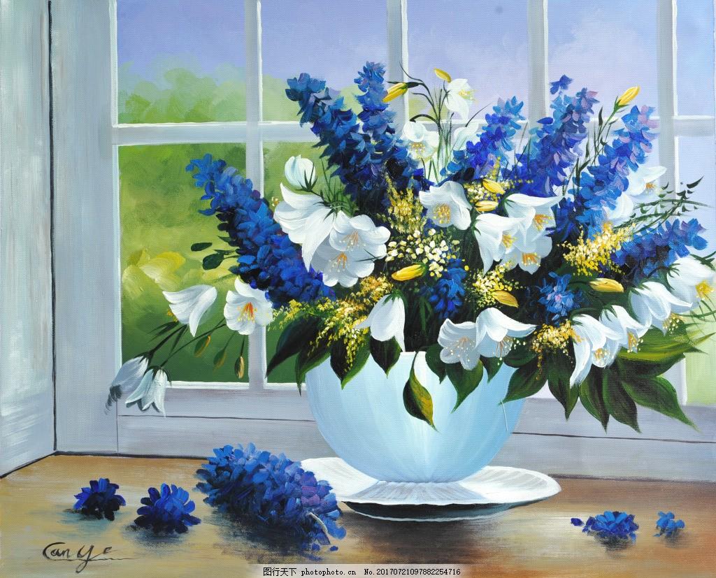 手绘蓝色白色花朵静物装饰画 油画 花卉 静物 艺术 手绘 装饰画 蓝花