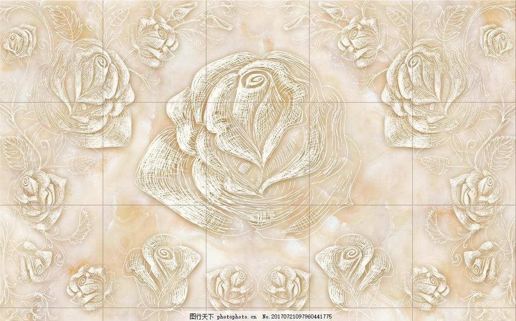 大理石玫瑰背景墙 大理石纹 电视背景墙 浮雕玫瑰 雕刻 古典 欧式花纹
