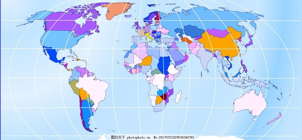 世界地图 地界地图 亚洲 欧洲 世界五大洲 网格 网格地图 矢量地图
