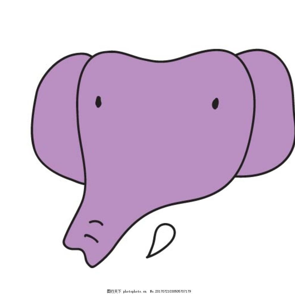 扁平动物 矢量扁平动物 矢量图 卡通漫画 q版动物 贴纸 卡通大象 设计
