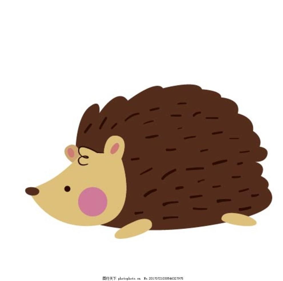 卡通刺猬,卡通动物 动漫卡通 可爱 贺卡 动物插画-图