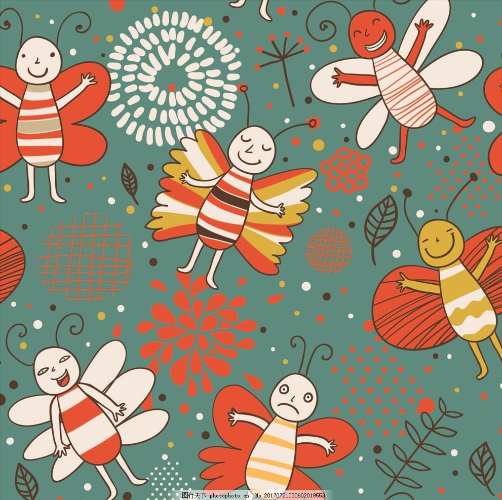 卡通蝴蝶树叶四方连续底纹 服装设计 男装设计 女装设计 箱包印花