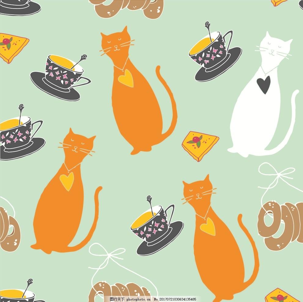 卡通猫 猫咪剪影 四方连续底纹 饼干 甜甜圈 面包 水果 矢量图案共享