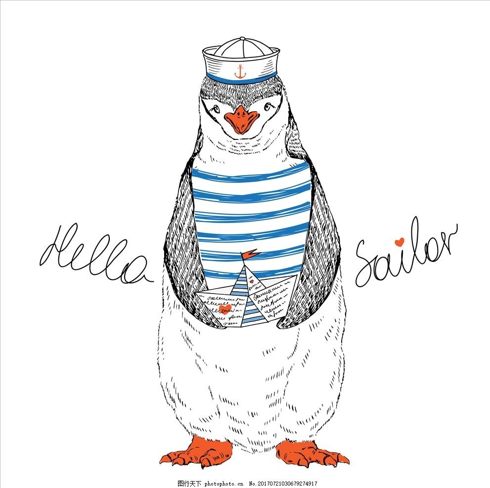 手绘卡通企鹅矢量图下载 服装设计 男装设计 女装设计 箱包印花 男装