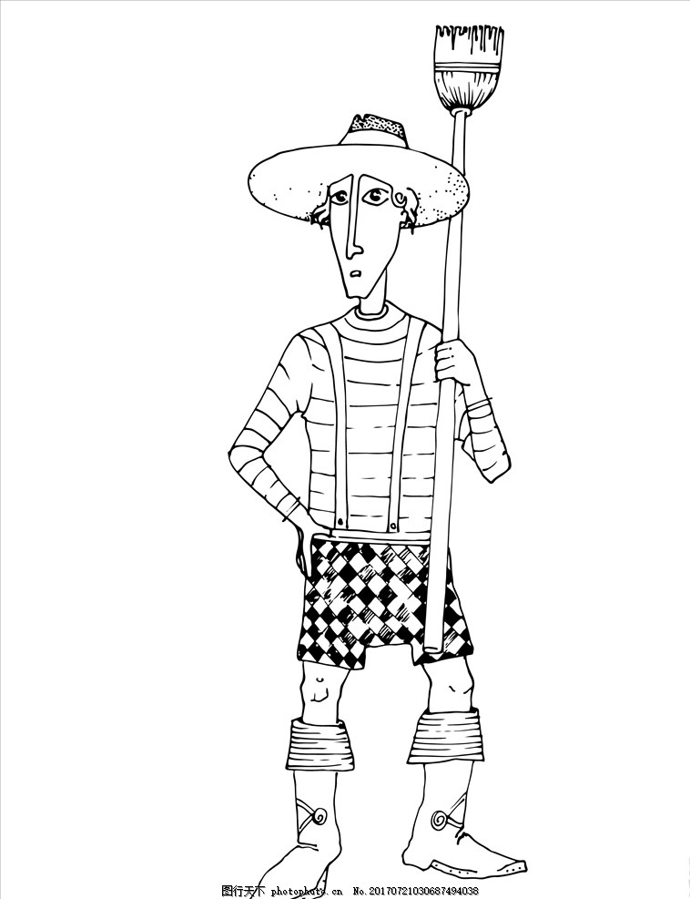 童装卡通 卡通人物 手绘卡通人物 草帽 帽子 扫把 格纹 格子 背带裤