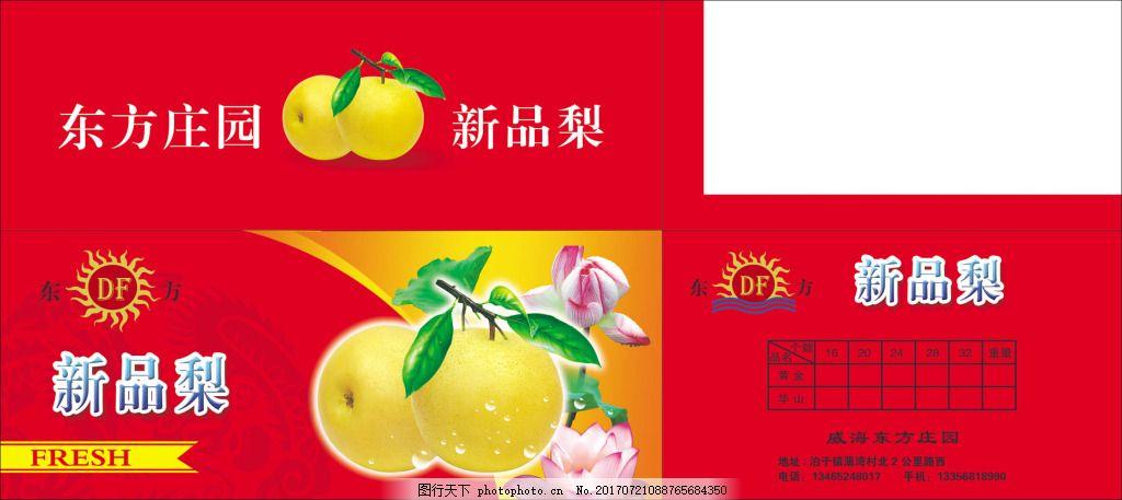 新品梨箱盒包装设计 水果包装 梨包装 黄色梨 实物梨