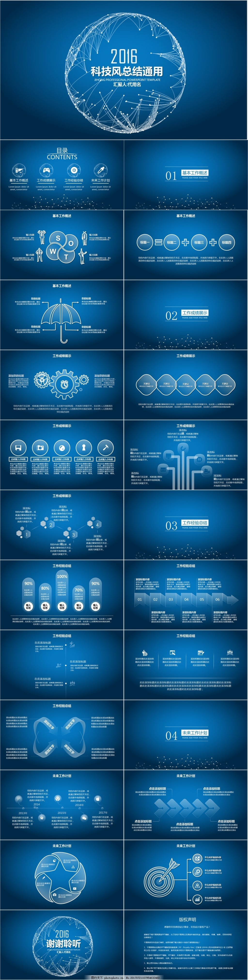 科技互联网总结汇报ppt模板