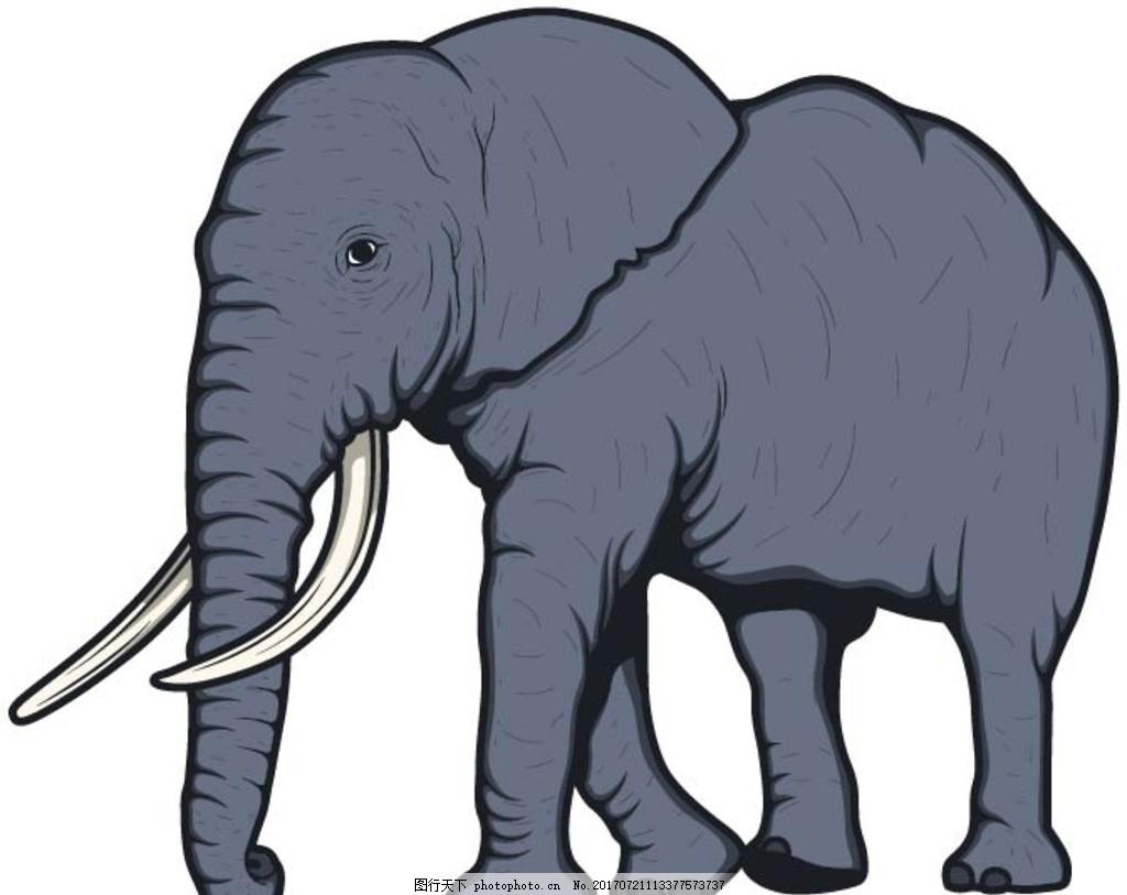卡通大象,卡通动物 动漫卡通 可爱 贺卡 动物插画-图