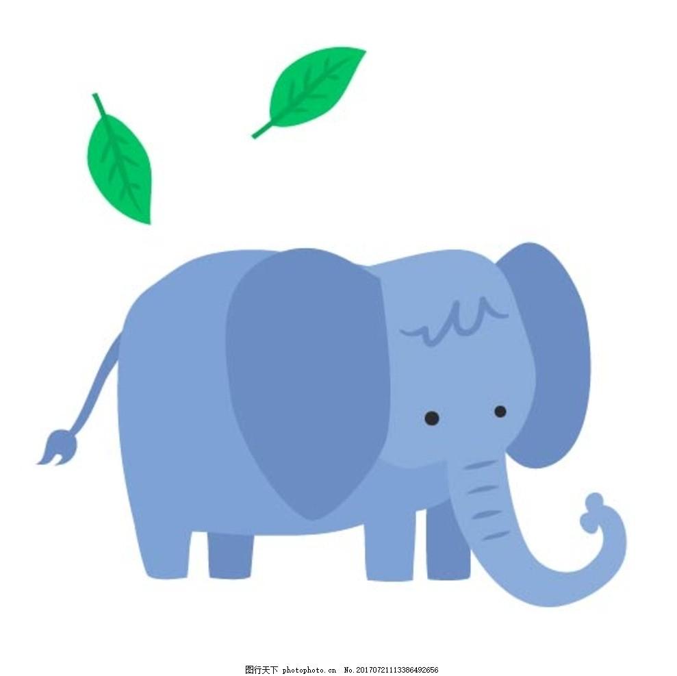 扁平动物 矢量扁平动物 矢量图 卡通漫画 q版动物 贴纸 卡通大象 设