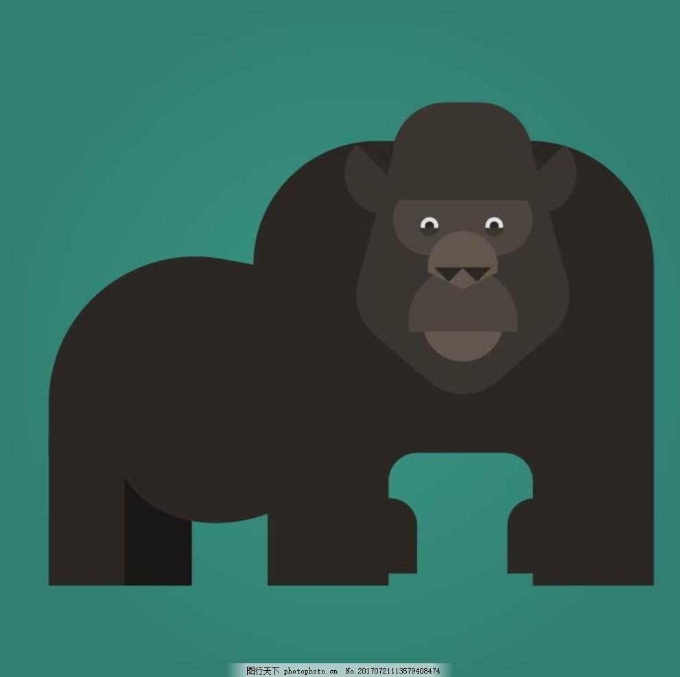 卡通大猩猩,卡通动物 动漫卡通 可爱 贺卡 动物插画
