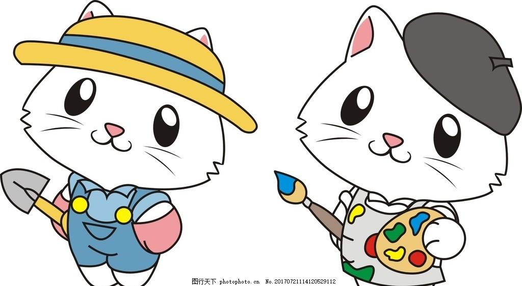 猫咪 动物 卡通 画画 绘画的猫 画画的猫 小猫 铲子 戴帽子的猫