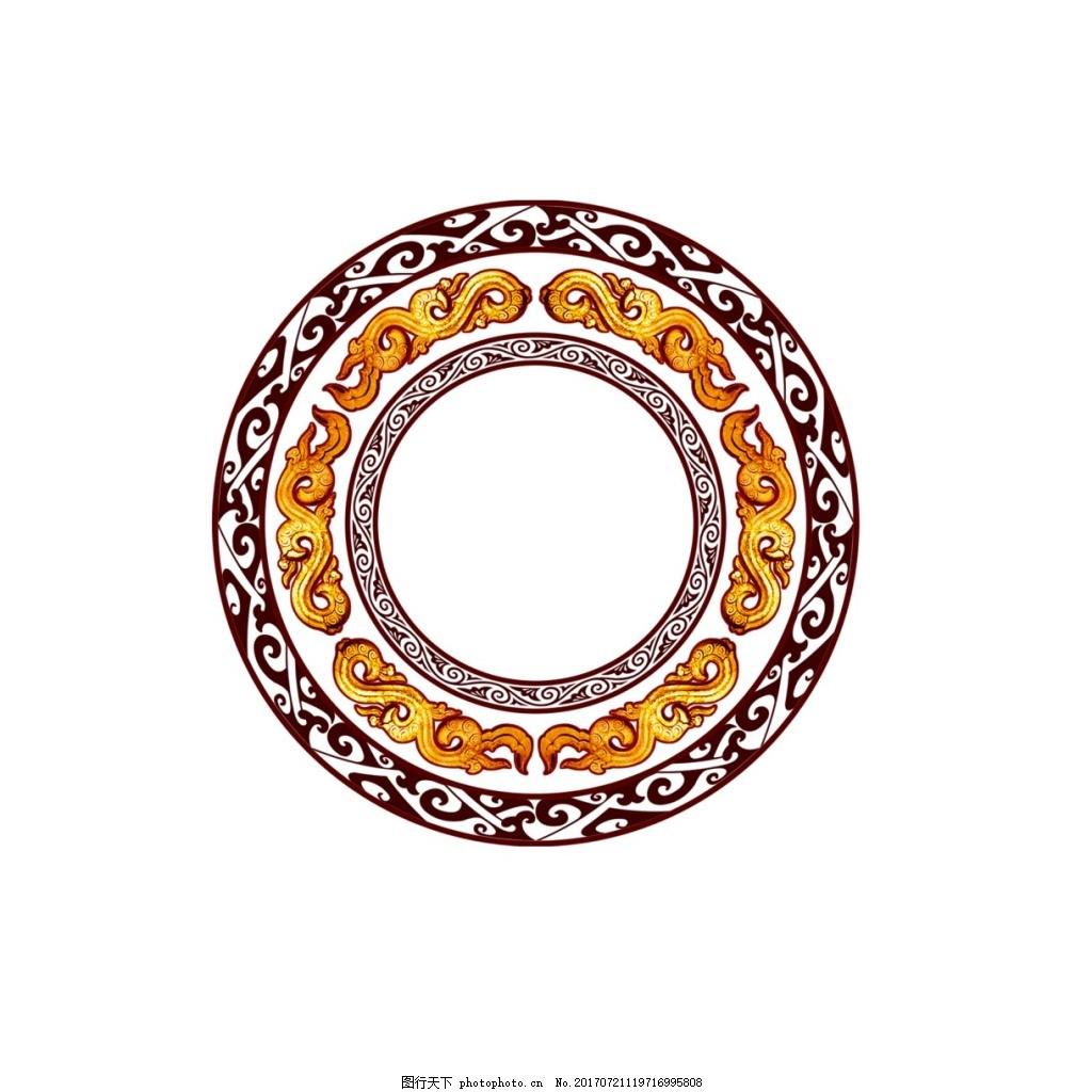 手绘花纹圆形元素