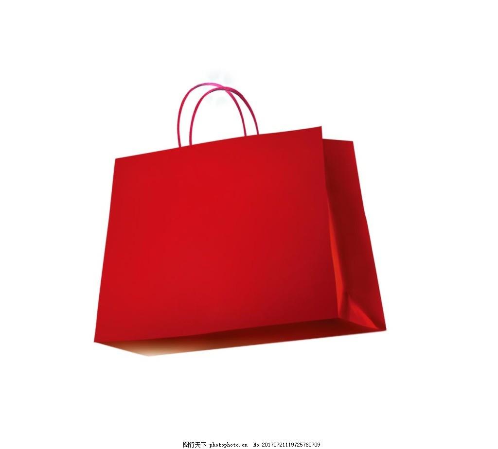 手绘红色手提袋元素