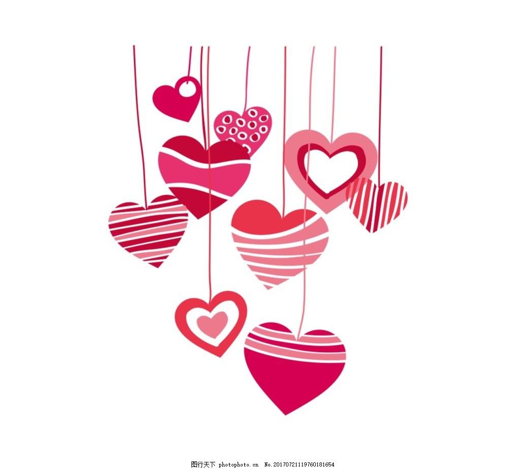 手绘心形吊坠元素 线条 红色心形 装饰 免抠