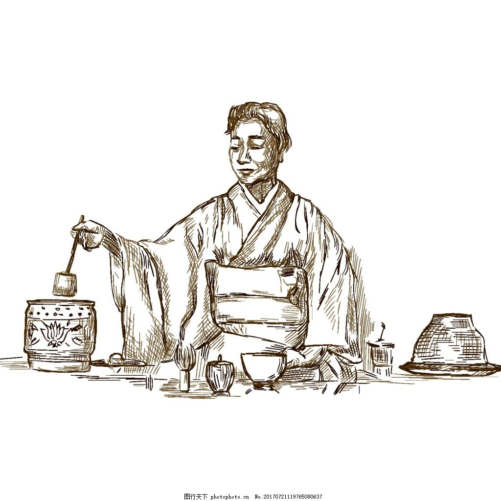 手绘中式茶艺元素 复古 汉服 煮茶 免抠