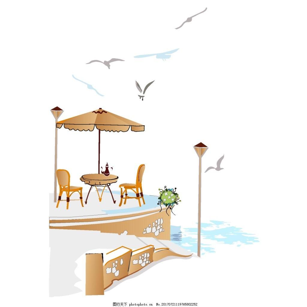 手绘休闲下午茶元素 路灯 街角 海鸥 海滨城市