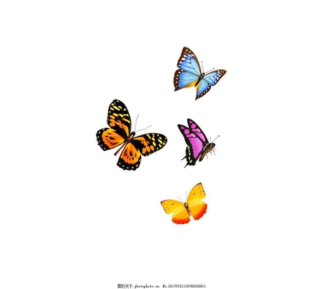 手绘彩色蝴蝶元素