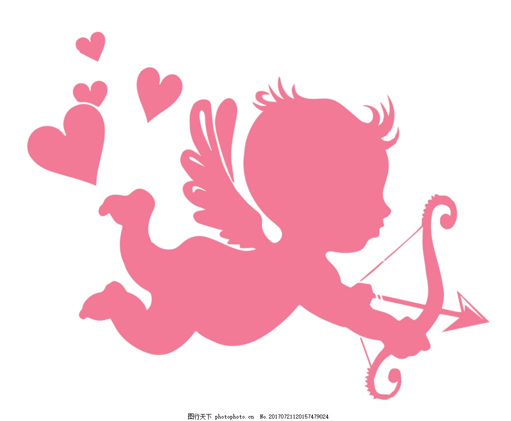粉色比卡丘剪影 丘比特 天使 弓箭 翅膀 爱心 小孩 粉红色 可爱
