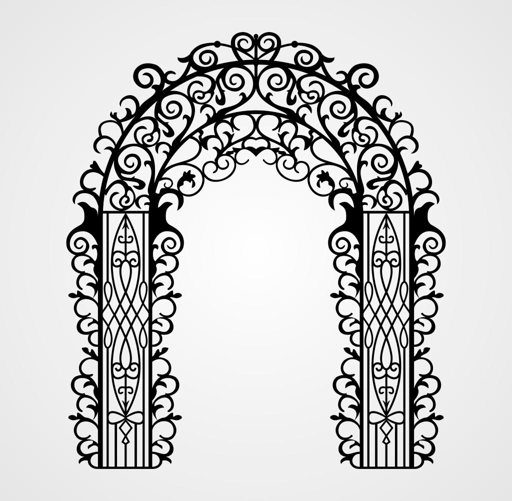 铁艺 投影 线条图 欧式铁艺门 欧式拱门 线条拱门 拱门 铁艺花纹 欧式